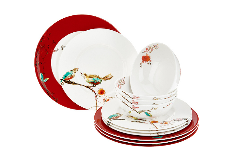 Lenox Chirp Scarlet Dinnerware Set Red 12 Piece Service For 4 Simply Fine NEW