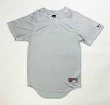 Nike Stock Elite Two Button Henley Gray Baseball Jersey Men's Small 453351 - $29.69