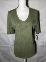 Karen Scott Womens Blouse Front Floral Design Olive Spring Green V-Neck ... - $20.57