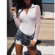 Sexy Zipper Up womens tops and blouses Autumn shirt  Slim Fit Blouse Mesh Sleeve - $32.97