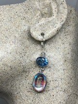 Vintage White Opal Glass Blue Topaz Lever Back Earrings 925 Sterling Silver - $67.32