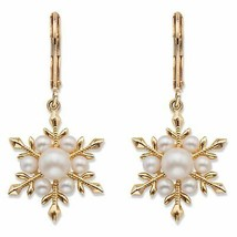 Simulated Pearl 14k Gold-Plated Snowflake Drop Earrings - $30.63