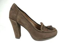 SAM EDELMAN Kody Brown Suede Tassel Loafer Pump Block Heels 8.5 M - $37.36