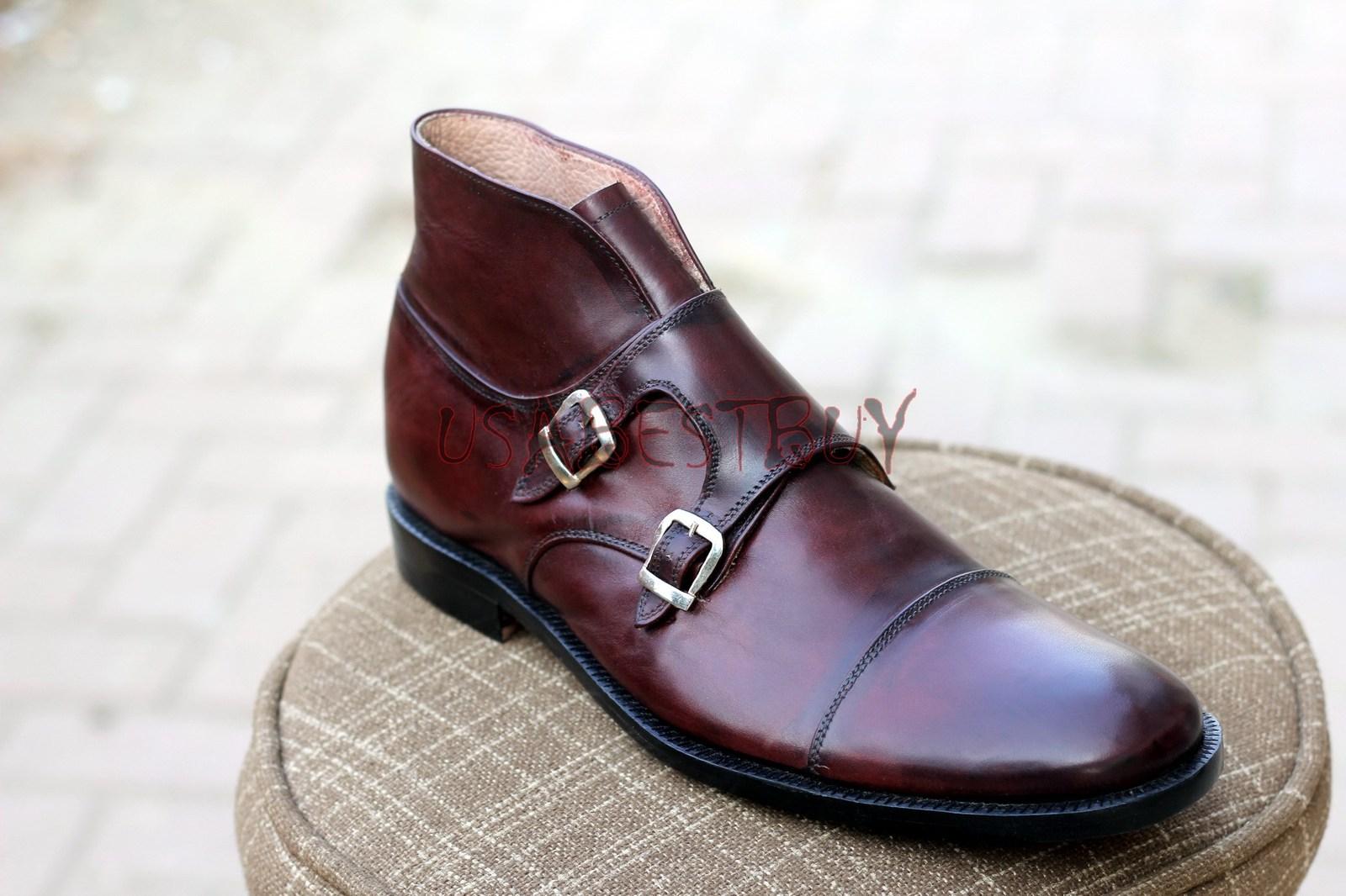 Custom Handmade Men Brogue in Chukka Style Black Leather Boots, Men Chukka Boots