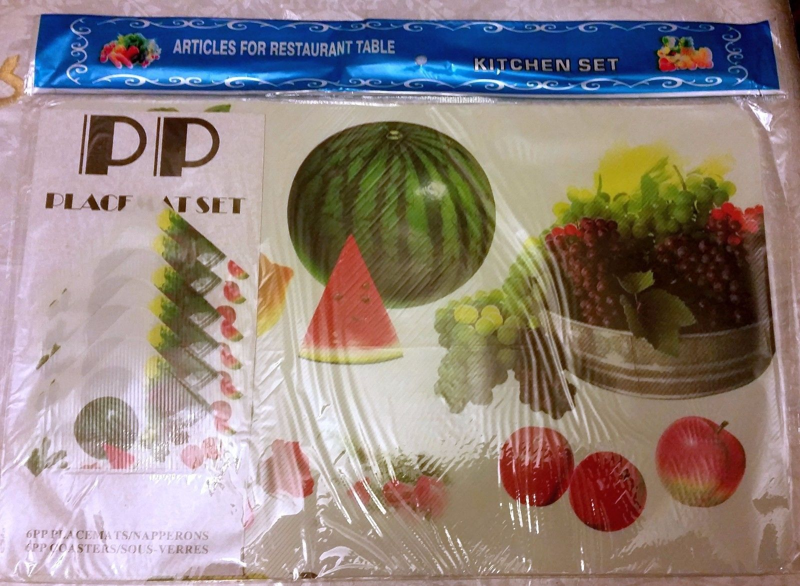 Primary image for 12 pc thin plastic PLACEMATS Set: 6 PLACEMATS & 6 COASTERS, WATERMELON & FRUITS