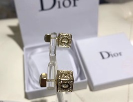 AUTH Christian Dior 2019 LUCKY SQUARE TRIBLES EARRINGS CRYSTAL GOLD image 3