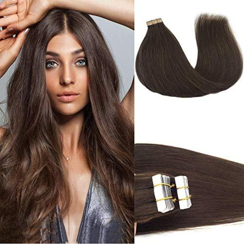 GOO GOO Tape in Hair Extensions Chocolate Brown Silky Straight Real Human Hair E