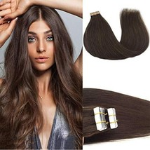 GOO GOO Tape in Hair Extensions Chocolate Brown Silky Straight Real Human Hair E image 1