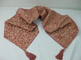 "Classic Scroll Floral Fabric Table Runner 4"" Tassels Cinnamon Tan Color 72"" x13"" - $19.75"