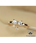Double Heart Shape Diamond Women's Bow Ring 18k Yellow Gold Plated 925 S... - $65.78