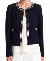 New with Tag - $1,250 St. John Santana Dome Stud Navy Wool/Rayon Jacket Size 8