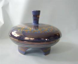 Vintage Vee Jackson Calif Pottery Centerpiece w/ Lid Compote Lavender Go... - $37.62