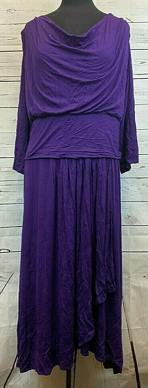 Primary image for Kiyonna Lane Bryant Purple 3/4 Sleeve Dress Size 4 Plus Size Layered Womens