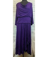Kiyonna Lane Bryant Purple 3/4 Sleeve Dress Size 4 Plus Size Layered Womens - $38.88