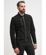 Men Black Real Suede Leather Jacket Biker All SizeXS S M L XL XXL 3XL 4X... - $120.62+