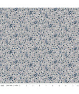 Fabric-Majestic Flower Gray-Small Floral-Riley Blake Penny Rose-C8144-Gray - $11.30