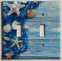Fishnet Seashells Starfish Ocean Light Switch Outlet Wall Cover Plate Home Decor image 2