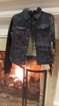 Calvin Klein Jean Jacket with Faux Leather Sleeves Sz XS Retail $99.50 - $37.62