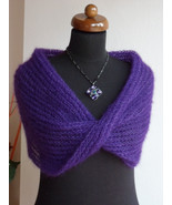 Loop scarf, Knit scarf, silk and mohair shawl, Infinity scarf, Violet scarf - $45.00