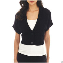 Worthington 2-Button Textured Cardigan Black Sweater Size S New Msrp $40 - $16.99