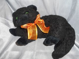 TY BLACK CAT W/ ORANGE BOW 2006 GREAT FOR HALLOWEEN - $7.50