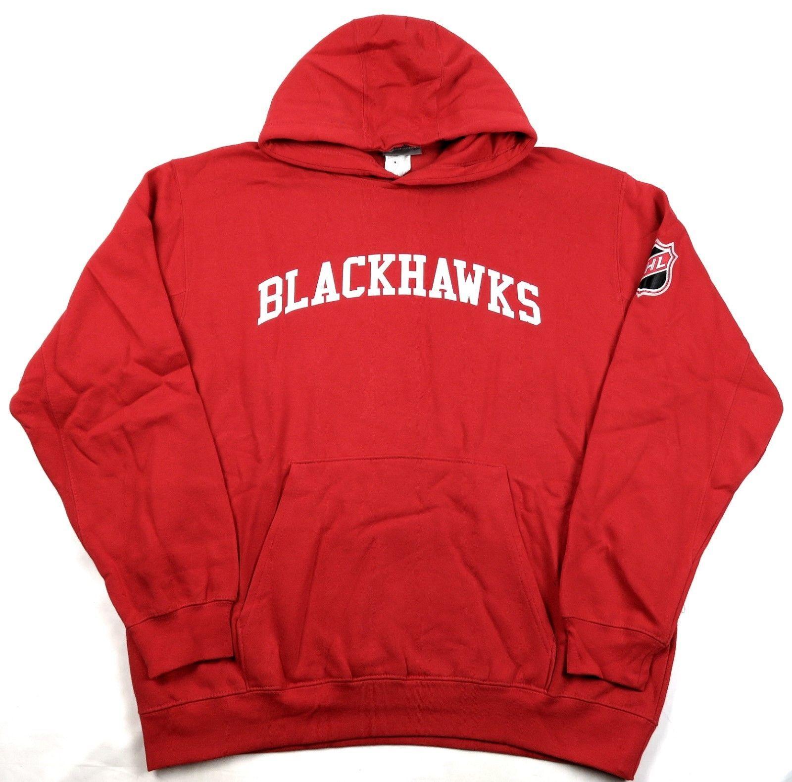 Large Men's Chicago Blackhawks Hoodie NHL Exclusive Hockey Pullover Sweatshirt