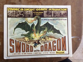"""Sword And The Dragon 5 colorful lobby cards, vintage, original 1960, 11x14"""" - $88.48"""