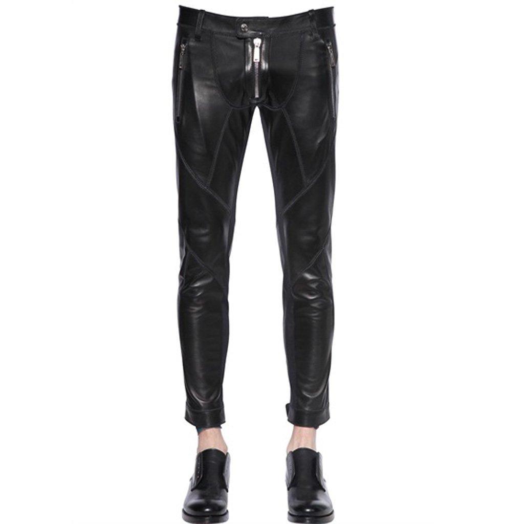 Men Panled Design Leather Pant