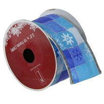 """Northlight Squares of Blue Snowflake Wired Christmas Craft Ribbon 2.5"""" x... - $9.64"""