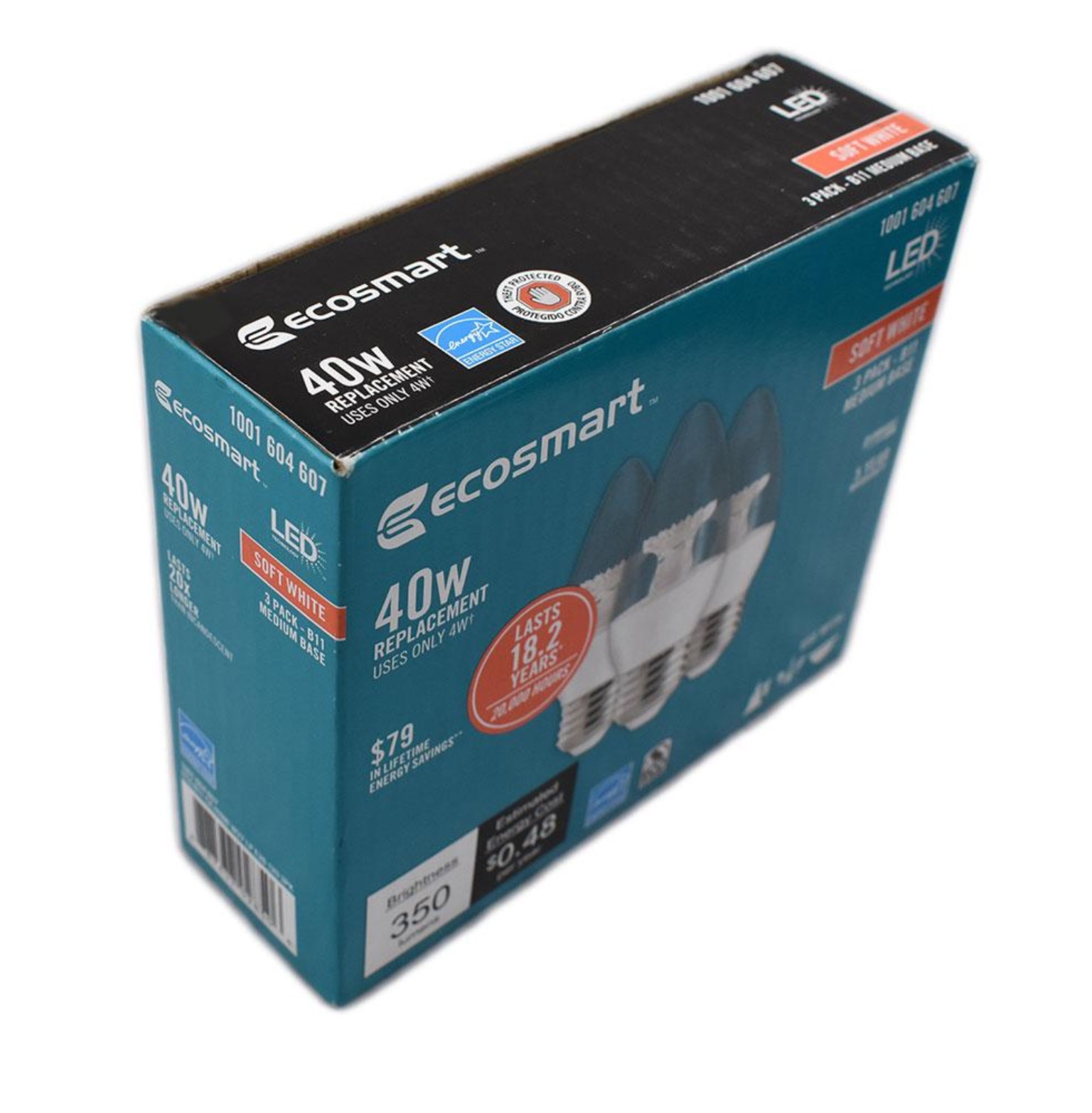 Ecosmart 40w Equivalent Soft White B11 Dimmable Filament: 48 Bulbs EcoSmart 40W Equivalent Soft White B11 Candelabra