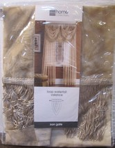 jcpenney home collection loop waterfall valance iron gate sheer tan/beig... - $21.23