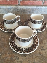Majesticware by SAKURA Stoneware Set of 3 Cups & 6.5in. Saucer Plates Crete 1996 - $14.83