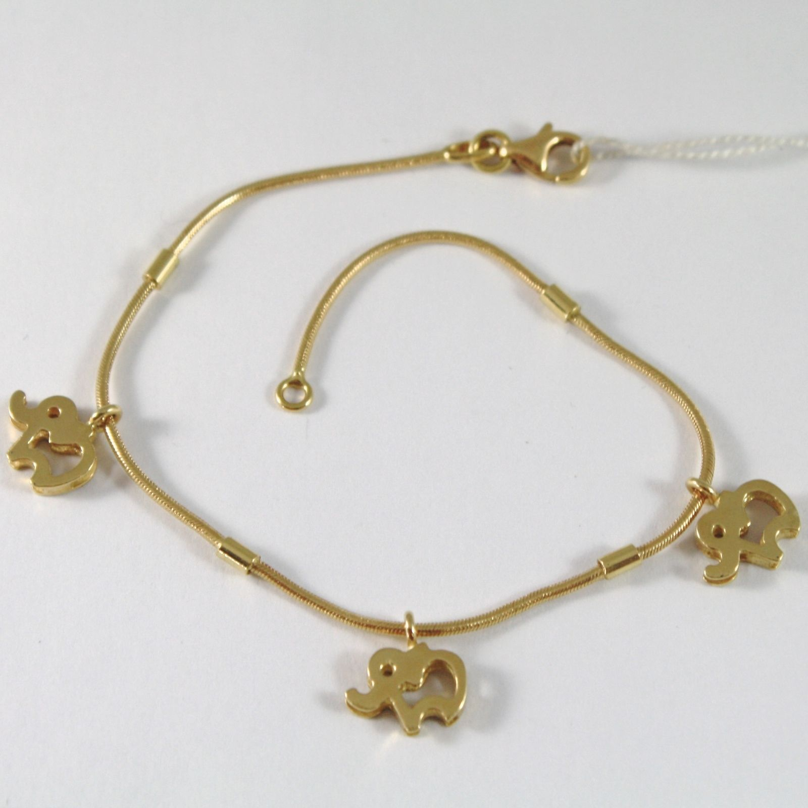 BRACELET YELLOW GOLD 750 18K WITH ELEPHANTS HANGING GOOD LUCK CHARM LONG 19 CM