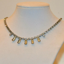 vintage clear crystal glass baguette square rhinestone bib necklace - $14.84