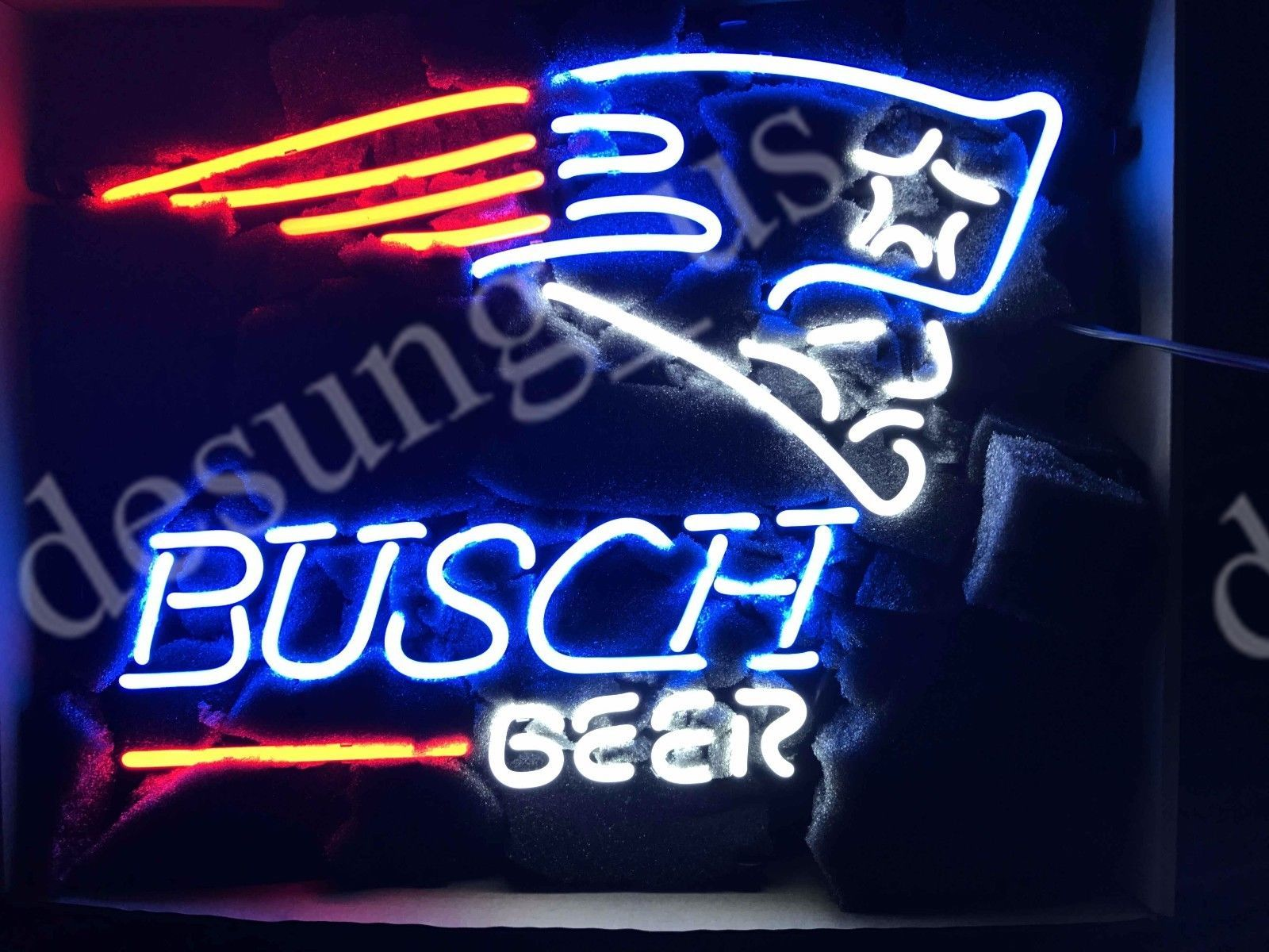 New Busch Beer New England Patriots Super Bowl LI NFL Neon Sign Ship From CA