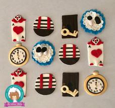 Alice in wonderland inspired fondant cupcake topper - $40.00