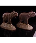 Antique elephant bookends - signed 1930 victorian mantle set - Vintage b... - $115.00