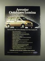 1990 Ford Aerostar Ad - Aerostar outshines Lumina - $14.99