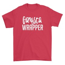 Gangsta Wrapper Shirt Funny Christmas Holiday Party Unisex Red Tee Shirt - $26.95+