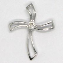 Pendentif Croix or Blanc 750 18K, Diamants, Fleur, Ondulés, Fabriqué en Italie image 2