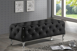 Tufted Bench Black Crystal Modern Faux Leather Upholstered Ottoman Bed B... - €262,19 EUR