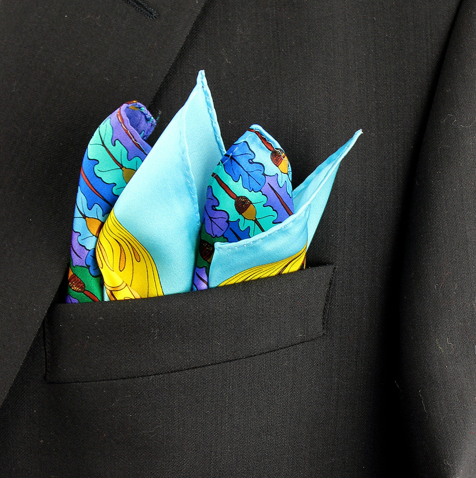 Men's Pocket Square Handkerchief Wedding Fashion Dress Oak Acorn Silk Blue Hanky