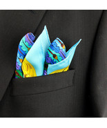Men's Pocket Square Handkerchief Wedding Fashion Dress Oak Acorn Silk Bl... - $19.75