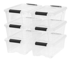 Stackable Pull Storage Plastic Bin Container w/ Lid Set 12 Quart 6 Box C... - $33.31
