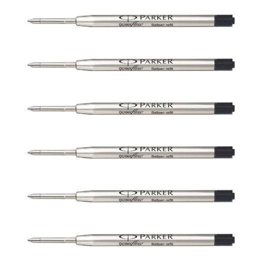 6x Parker Quink Flow Ball-Point MEDIUM BLACK Jotter Refill LIMITED STOCK OFFER