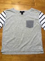 Gap Kids Girl's Gray, Blue & White Striped Pocket Shirt - Size: Medium image 2