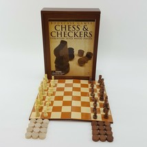 Chess & Checkers Bookcase Games Folding Board Staunton Style Wood Pieces... - $19.99