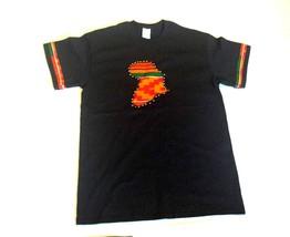 African Map Kente Ankara Black T-Shirt With Stones - Big Medium - $13.99