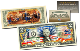JULY 4th Independence Day Genuine Legal Tender US $2 Bill 2-SIDED w/COA ... - $13.98