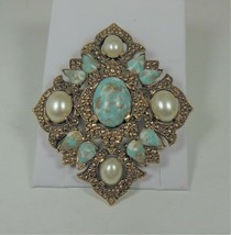 Sarah Coventry REMEMBRANCE Pin Brooch  Faux Pearls Turquoise Blue - $12.86